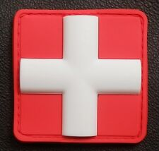 """3D PVC MEDIC CROSS SQUARE EMT EMS USA ARMY PARAMEDIC MEDICAL RED VELCRO PATCH 2"""""""