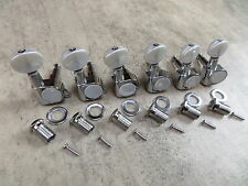 Guitar Tuners Chrome/Pearl 6 Inline set Tuning Pegs Machine Heads Strat /Tele 6R