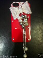 3D Bow Tie Red & Clear Swarovski Crystal Bling Case Handmade iPhone 5 5S Cover