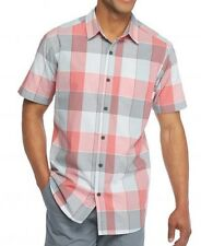 Columbia - Mens L - Thompson Hill II Pink Check Plaid S/S Cotton Pocket Shirt
