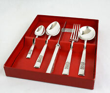 Vintage Silver Plated 5 Piece One Person Cutlery Set Dinner Knife & Fork Spoons