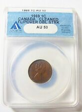 1969 CANADA 1 CENT FLIP OVER DOUBLE STRIKE IN COLLAR EXCEEDINGLY RARE TOP STRIKE