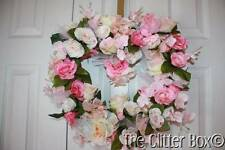 Shabby Cottage Chic Heart Wreath Silk Roses Orchids Shades Of Pink Grapevine
