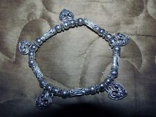 vtg Antique style Heart Silver Bracelet Five Charms