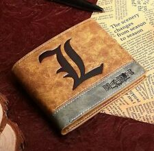 Japan Anime Death Note Cosplay PU Leather Wallet L Logo Bifold Purse Gift
