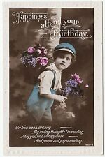 HAPPINESS ATTEND YOUR BIRTHDAY - Boy / Flower Basket - 1924 Real Photo postcard