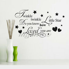 Twinkle Little Star Vinyl Words Quote Wall stickers Decal Mural Home Kids Decor