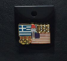Olympic Pin Badge~USOC~1896-1996~USA~Flag of Greece~American Flag~Torch~5 rings