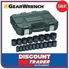 """GearWrench 19 Piece 1/2"""" Drive 6 Point SAE Impact Socket Set 84932N"""