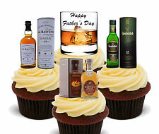 Whisky Lover, Happy Father's Day - Edible Cupcake Toppers, Stand-up Fairy Cake