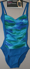 LADIES M&S SWIMSUIT TUMMY CONTROL BUST SUPPORT - BLUE MIX - SIZE 8 - BNWT
