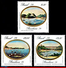1635-37 BRAZIL 1979 PHILATELIC EXPOSITION, BRASILIANA, PAINTING, MI# 1728-30,MNH