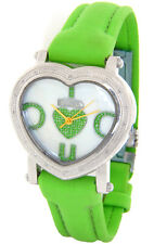 FREEZE LADIES REAL DIAMONDS HEART SHAPED WATCH SILVER TONE GREEN FACE BAND