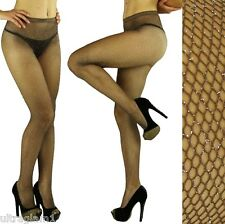 Coffee-Silver GLITTER FISHNET PANTYHOSE/TIGHTS/CROSSDRESSER/DRAG QUEEN/ Brown