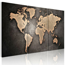 Abstract Picture HD Canvas Print Wall Art Painting- 3PC Retro World Map Unframed