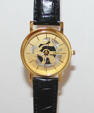 Gold on Black Transparent Luxury Men Skeleton Stainless Steel Wrist Watch 1BLG