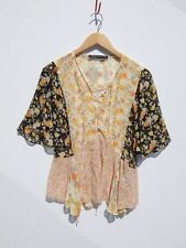 ZARA WOMAN~Sweet Farmers Girl Fabric Nothing Matches Lace Up Boho Top~S