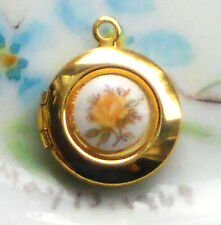 #1479E Vintage Locket charm Pendant Limoges Floral Tiny Round Gold Plated Girl