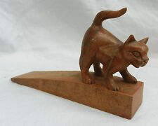 Hand Carved Wooden Cat Wedge Doorstop / Door Stop - BNWT
