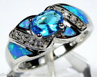 London Blue Topaz & Blue Fire Opal Inlay 925 Sterling Silver Ring Size 6 7 8 9
