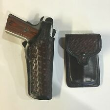 Colt 1911,Springfield,Remington,Kimber & Pouch Leather Basket Weave Holster