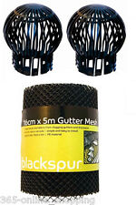 2 PC DOWN PIPE FILTER + 5M GUTTER MESH STOP LEAF DRAIN DEBRIS ROOF GUARD COVER