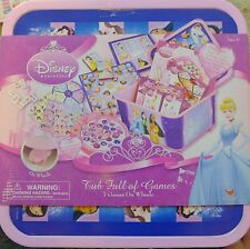 NEW Disney Princess Tub Full of 7 GAMES- Gems, Fishing, Cards, Dominoes,Checkers