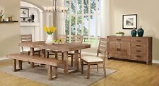 RUSTIC WEATHERED WOOD LOOK DINING TABLE CHAIRS & BENCH DINING ROOM FURNITURE SET