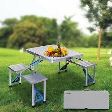 Outdoor Garden Aluminum Folding Camping Picnic Table 4 Seats Portable US