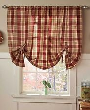 Burgundy Country Check Tie-Up Window Curtain Rustic Style Home Decor