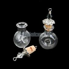 Set of 2 Vintage Silver Bead Cap Cork Empty Glass Bottles Vial Wish Pendants