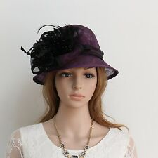 New Woman Church Derby Cocktail Party Sinamay Ascot Cloche Dress hat 249purple