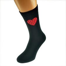 Red puzzle motif coeur drôle st-valentin noir homme taille uk 5-12 chaussettes-X6N336
