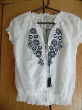 RUE 21  Womens White V Neck Peasant  Top  Blouse Sz S