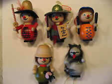 Lot of 5 Steinbach Wooden Christmas Ornaments Incl Boy Scout and Rat NIB