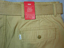 NWT LEVIS levi's size 32 SNAP CARGO SHORTS beige COMES WITH BELT men's mens NEW