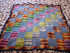 Vintage 100% Wool Colorful Patchwork Woven Crochet Throw Baby Blanket 36x33