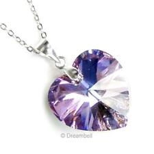 925 Sterling Silver Crystal Heart Love Chain Necklace made w/ Swarovski Elements