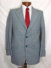 Vtg 60s Mens Palm Beach Bon Marche Blue Plaid Blazer Suit Jacket Sport Coat 38R