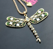 B555  Betsey Johnson Crystal Enamel Dragonfly Pendant Sweater Chain Necklace