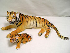 Plastic Toy Animals, Big Rubber Tiger & Tiger Cub Figure, Wild Animal Toy by AAA