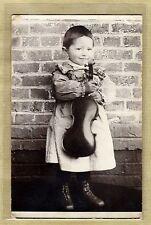 Cpa Carte Photo Enfant Robert avec son Violon Musique vq01