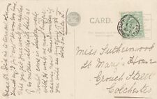 ESSEX POSTAL HISTORY :1907 GREAT HORKESLEY thimble cancel on PPC
