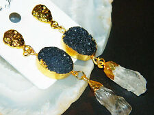 Gold Edged Druzy Agate Slice Earring, Natural Druzy Slice, Crystal Quartz Baed