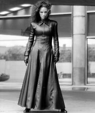 New Black Genuine Leather Full Length Coat Back Lacing Long Sleeves Form Fitting