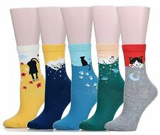 SoxEra Cute Cat Design Women's Casual Comfortable Cotton Crew Socks - 5 Pack