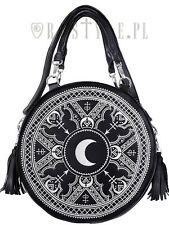 Restyle White Henna Moon Round Bag Embroidery Punk Goth Witch Purse Handbag