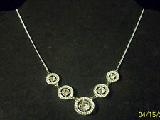"""Silver Tn NRT Signed Gradutated Fixed Rhinestone Front 16 1/2"""" Chain Necklace"""