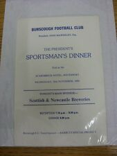 28/11/1990 Burscough: The Presidents Sportsmans Dinner Menu, Held At The Scarisb