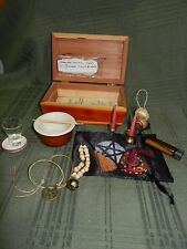 Travel Altar Set Kit Wicca Cedar Box Bag Bell  Censer Besom Brass Goddess Bell